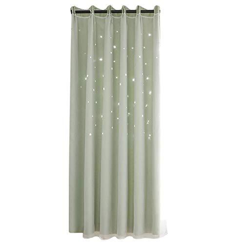 Sterren verduisteringsgordijnen, holle ster-stijl voile tule gordijn, goed gedrapeerd elegante vitrage dubbele lagen dromerige stijl gordijn voor slaapkamer woonkamer kinderkamer(Groen)