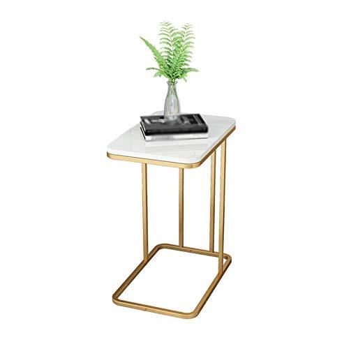 Tableau Décoratif Côté, Tableaux C avec Marbre Blanc Tableau, Or/Noir Shelf Accueil End Table/Table De Nuit Petit Déjeuner Table Basse Sofa - Taille Bureau 50 * 30CM(Size:50 * 30 * 58CM,Color:Or)