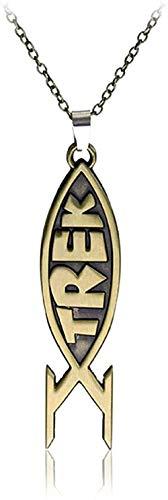 NC190 Diseño clásico Retro para Hombres y Mujeres fáciles de Combinar con un Collar Colgante de pez de Personalidad Simple
