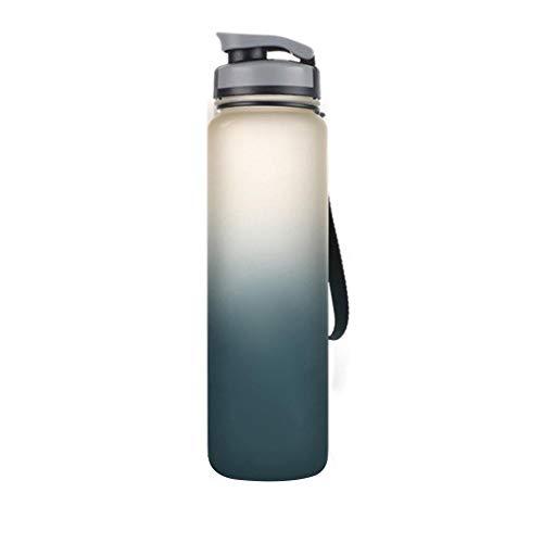 Sebasti Botella de agua de plástico esmerilado de 1000 ml de gran capacidad para deportes al aire libre esmerilado taza de agua negro 1 unidad 1 tamaño de venta: 28 x 7,4 cm