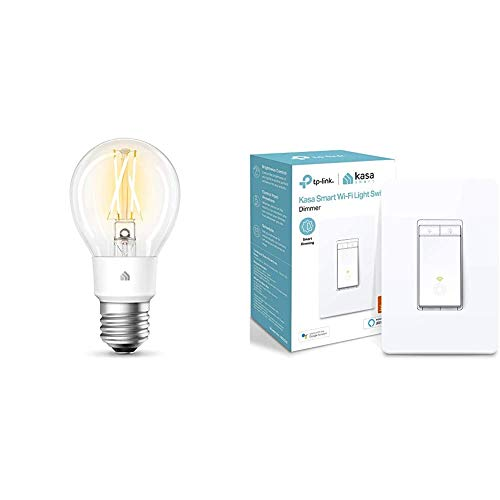 Kasa Smart Wi-Fi LED Bulb by TP-Link & Kasa Smart Dimmer Switch, Single Pole, Needs Neutral Wire,WiFi Light Switch for LED Lights, Works with Alexa and Google Assistant,UL Certified, 1-Pack(HS220)