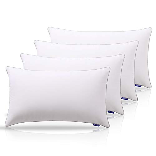 Sweetnight Pillows Pack of 4 Bed Pillows for Neck Pain Sufferers-100% Cotton Fabric Anti Snore &...