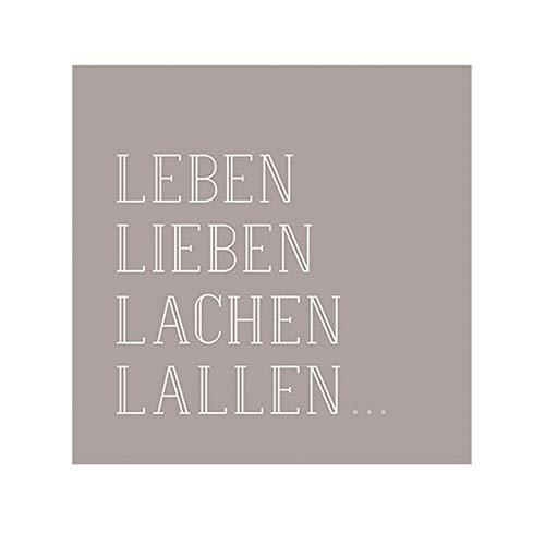 Räder Poesie et Table Vino Serviette Leben, Lieben, Lachen, Lallen