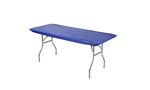 Kwik-Covers 30 x 72 (6 Feet) Royal Blue Rectangular Fitted Plastic Table Covers - 10 Pack