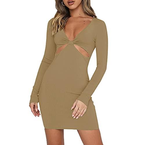 Glosun Dam stickad utskuren maxiklänning sommar delad sida lång klänning ribbad swingklänning strand Y2k streetwear