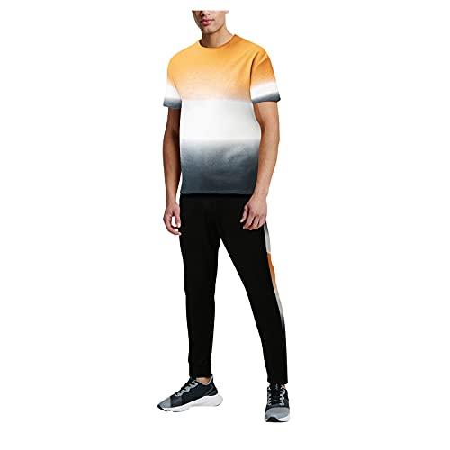 Xmiral T-Shirt Top Camicetta Camicie Pantaloncini Pantaloni Set Uomo Estate 2 Pezzi Beach Patchwork Magliette a Maniche Corte Pantaloni Lunghi Set (4XL,2giallo)