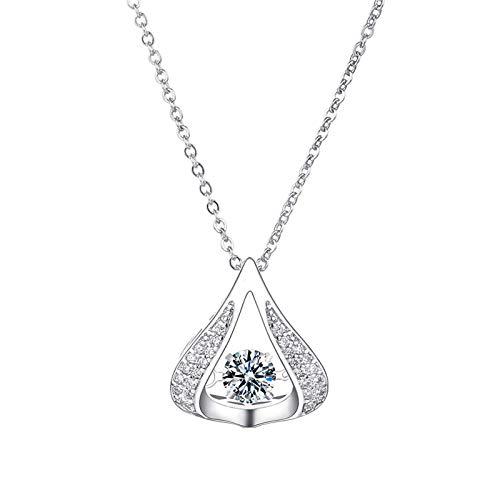 Moent Lujoso collar con forma de corazón que late cristal cadena de moda collares colgantes (E, talla única)