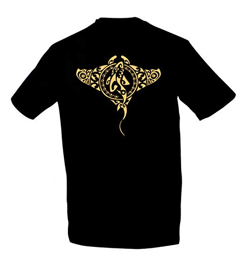 Kreativ-Shop! Taucher - T-Shirt TRIBAL-Manta/Shark | Frontdruck | Größe: L | Folienfarbe: Gold