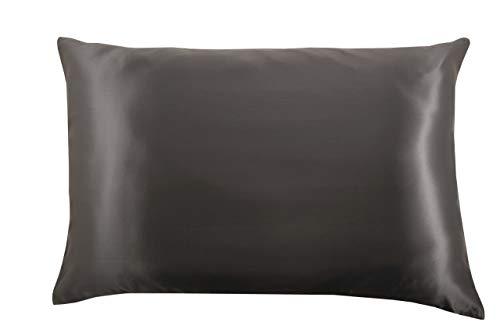 Celestial Silk 100% Pure Mulberry Silk Pillowcase Premium Slip for Hair and Skin, Hidden Zipper Closure - Diamond Edition (Charcoal Gray, Queen 20' X 30')