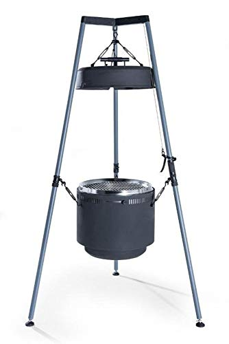 Burch Barrel BBQ Grill & Fire Pit Combo – Adjustable Hanging Grill & Smoker with Tripod System – Charcoal or Wood Pellet Outdoor Barbecue