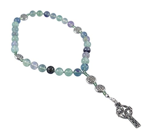 Anglican Rosary Beads, Celtic Cross, Prayer Bag, Instruction Booklet (Fluorite, Multiple Color)