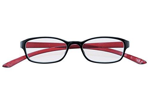 メイガン(Meigan)首に かかる CAKALU 首掛け 老眼鏡レッド×ブラック度数 +2.00 (ブルーライト カット レンズ仕様)4820-20