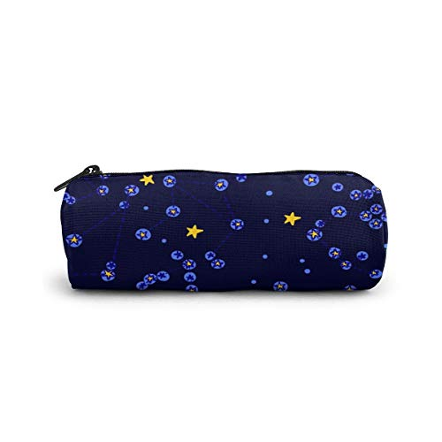 Cylinder Cosmetic Bag Hand Drawn Colorful Pencil Case Small