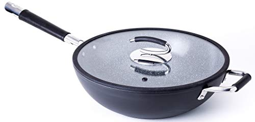 Ceramic 13' Wok with Natural Nonstick Coating, Lid Included - By DaTerra Cucina