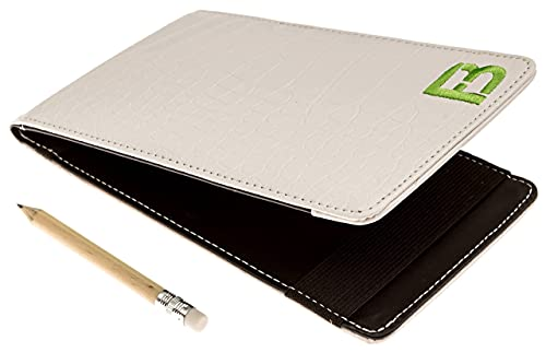 Fuzzy Bunkers Quality Leather Golf Scorecard Holder – Yardage Book Cover Plus Free Golf Pencil and Downloadable PDF Stat Tracker Sheet (White)