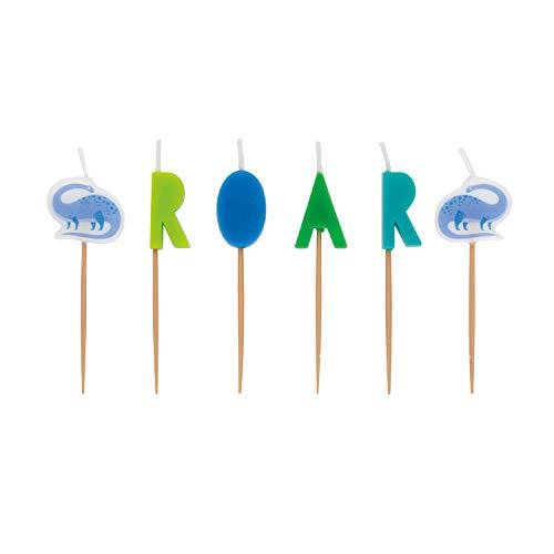 Unique'ROAR' Dinosaurs Pick Candles (6 Pcs) - 1 Pack', multicolor, one size