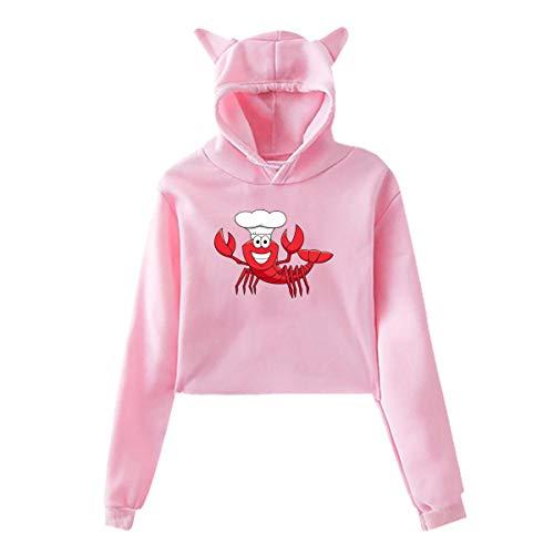 Cartoon Red Lobster Chef in White Cook Hat Women's Pullover Hoodie Cat Ear Crop Top Hooded Sweatshirt