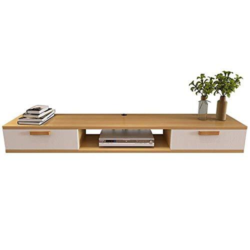 Equipo para el hogar Mueble para TV Soporte para TV montado en la pared Medios y entretenimiento Consola de juegos Unidad de estantería Mueble de estante Muebles para TV Repisa (Color: Blanco Tamañ