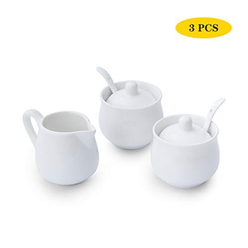Set creamer e zucchero, in ceramica bianca, 2 pezzi, zuccheriera con coperchio e cucchiaio, 1 brocca per caffè e tè, 3 pezzi