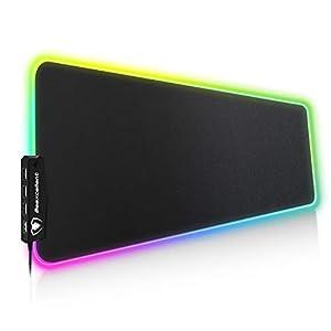 Beexcellent Gaming-Mauspad, 800 x 300 x 5 mm, 14 einstellbare RGB-Beleuchtungsmodi und 4 USB-Anschlüsse, Mauspad für Spiele, sehr dick, wasserdicht und rutschfest.