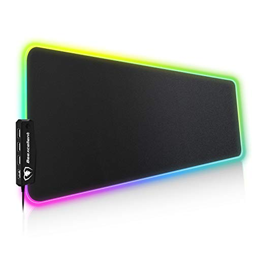 Beexcellent RGB Gaming Mouse Pad, 14 Lights Modes with 4 USB Ports Ultra-Large Size Soft Extra Extended Mousepad, Anti-Slip Rubber Base Computer Keyboard Mat 31.5X 11.8in