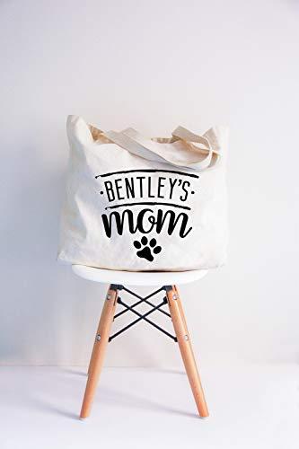 Aangepaste hond naam Bentleys Moeder Typografie Tas Alle Over Print Tas Schoudertas met Woorden Zwart Wit Totes Draagtas