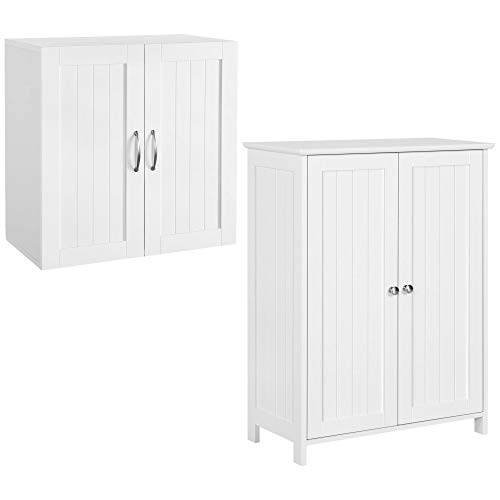 Yaheetech 2 PC Bathroom Furniture Sets - 2 Doors Floor Cabinet & Wall Cabinet Storage Organizer with Adjustable Shelf for Bathroom/Medicine/Kitchen/Laundry White