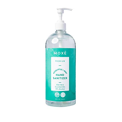 MOXE Hand Sanitizer Gel 70% Alcohol - Eucalyptus Mint 32 oz Bottle With Pump - Made in the USA, Protects Against Germs - New Formula