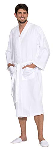 ZOLLNER Damen und Herren Bademantel, 100% Baumwolle, Größe XL, Waffelpique, Weiß