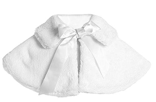 Baby Girl's Soft Faux Fur Cape with Satin Tie in White Infant M (6-12 months)