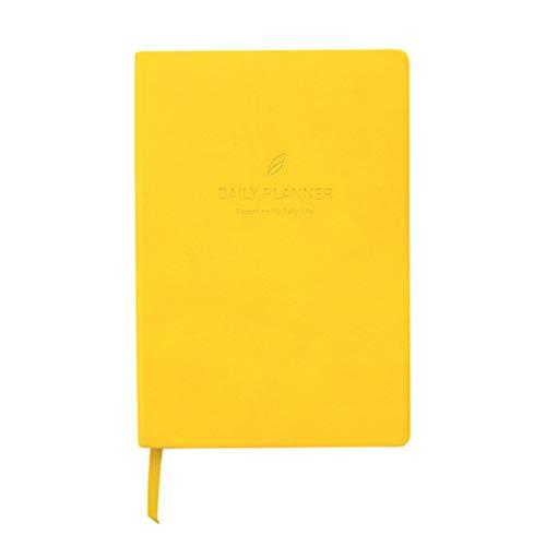 NUOBESTY Cuaderno 2020 calendario pu cubierta de cuero calendario 2020 cuaderno de notas diario para maestros estudiantes oficina año nuevo regalo (amarillo)