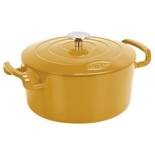 Sitram COCOTTE Sitrabella ronde en fonte émaillée 5 litres - Extérieur jaune moutarde et intérieur blanc - toutes sources de chaleur y compris induction et four - 711983
