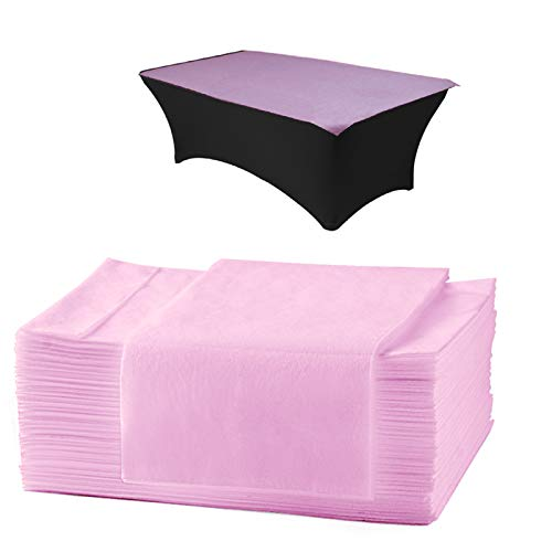 AMZGIRL 25pcs Disposable Bed Sheet Massage Table Sheet Waterproof Non Woven Fabric Breathable Bed Cover for SPA Tattoo Hotels Beauty Salon 31in71in (Oil Proof,Pink)