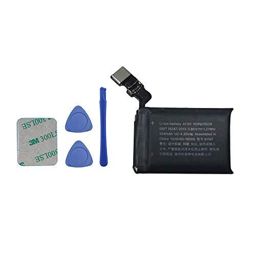 Upplus Batería de repuesto A1761, compatible con Apple Watch Series 2, 2 unidades, 42 mm, A1758 Gen 334 mAh, 3,8 V, con kit de herramientas