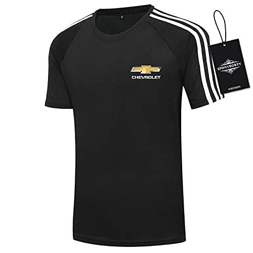 xiaosu Hombres Camisetas 100% Algodón Confortable Che.V_Rolet Corto Manga Redondo Cuello Camisetas por Golf Raya/Negro/XL