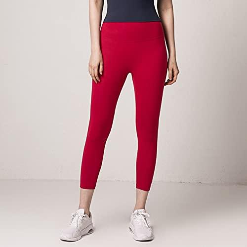 CYMTZ Pantalones De Yoga para Mujer, Mallas Deportivas Elásticas, Pantalones Ajustados 3/4 para Correr, Pantalones Ajustados, Mallas De Baile, S Jlyjqfk01 Rojo