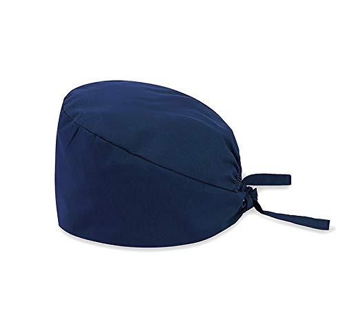 Surgical Hat Doctor Nurse Scrub Cap Solid Color Dentist Cap Navy Blue