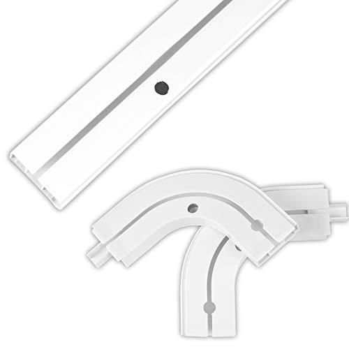 Bestlivings Gardinenschiene bis 480cm Länge, 1 bis 3 Lauf (120 cm / 1 Lauf + Rundbögen), inkl. Zubehör. Für Schiebevorhänge UVM