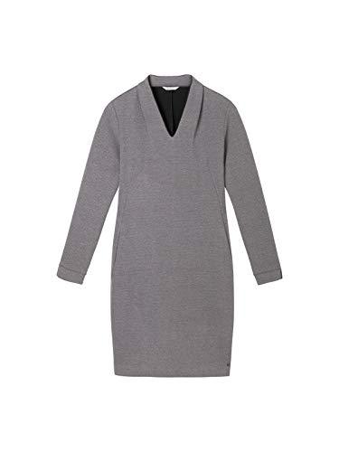 Sandwich Damen Jacquard-Kleid mit hohem V-Ausschnitt