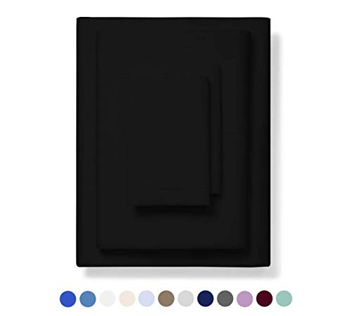 600ThreadCount 100% Cotton Sheets Black KING Size 4Piece Extra Longstaple Combed Cotton BestBedding Sheet Set For Bed Breathable Soft amp Silky Sateen Weave Fits Mattress 16#039#039 Deep Pocket