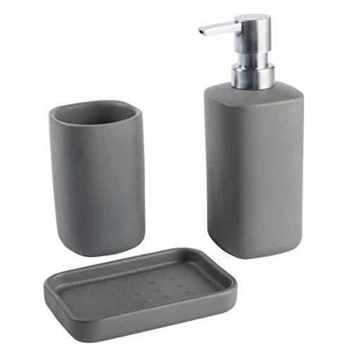 Baroni Home Set 3 Pezzi in Ceramica da Bagno Modern Grigio Antracite. Include Dispenser, Bicchiere e portasapone