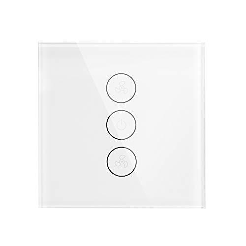 OWSOO Interruptor Táctil de Pared de Ventilador Tuya WiFi Soporte Velocidad Ajustable Control Remoto de App Sincronización Compatible con Amazon Alexa, Google Home Voice Control