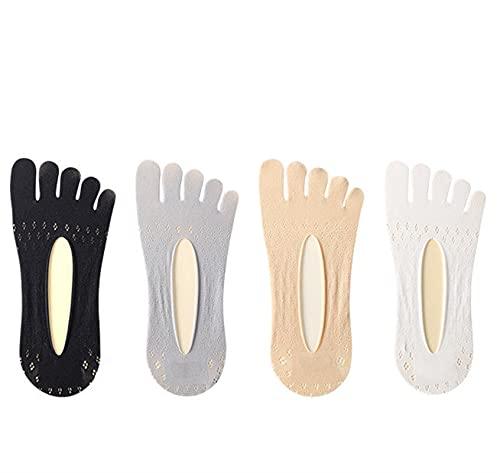 Zzx Calcetines de Barco Grosor, Calcetines de Trabajo para Mujer, Calcetines de Cinco Dedos, Calcetines de Yoga, Medias de Verano de Terciopelo de Las señoras, Malla Corta Transpirable Invisible buca
