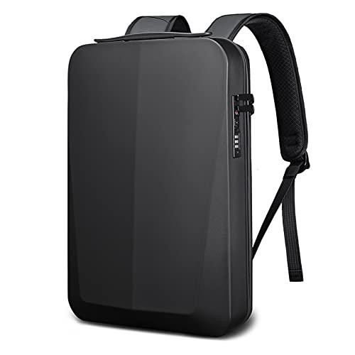 Backpacks de Desgaste de la Calle Slim Hard Shell Hombre de Negocios Mochila de Hombro Bolso portátil USB Multi Capa Almacenamiento Bolsa Impermeable (Color : Black, Size : 16 Inches)