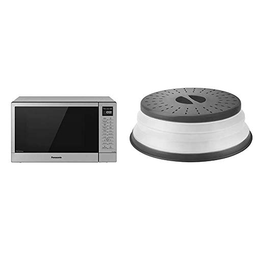 Panasonic NN-SN68KS Compact Microwave Oven with 1200W Power, 1.2 Cu.' (Stainless Steel/Silver) & Tovolo Vented Collapsible Microwave Splatter Proof Food Plate Cover, 10.5' Round, 10.5 inch, Charcoal