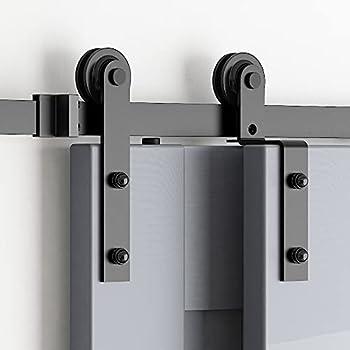 skysen 5FT Heavy Duty Sliding Barn Door Hardware Single Track Bypass Double Door Kit Black Bypass I Shape-1