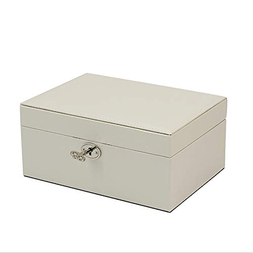 WJLED Large-Capacity Leather Jewelry Box with Mirrored Jewelry Storage Box, Suitable for Bracelets, Rings, Necklaces, Jewelry, Storage,White