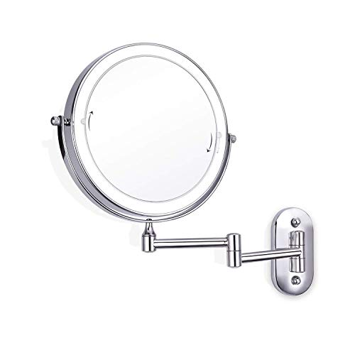 SYDDP Cosmetic Vanity Mirror Touch Adjustment LED 8 Inch Cosmetic Mirror Folding Double Sided 7X Magnifying Wall Mounted Beauty Mirror Best Luxury Quality LED (Color : Silver, Size : 8 inches 7 X)