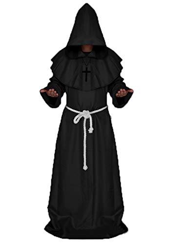chuangminghangqi Mönch Robe Prister Gewand Mittelalter - Kostüm Renaissance Priester Robe Halloween Cosplay (M, Schwarz)