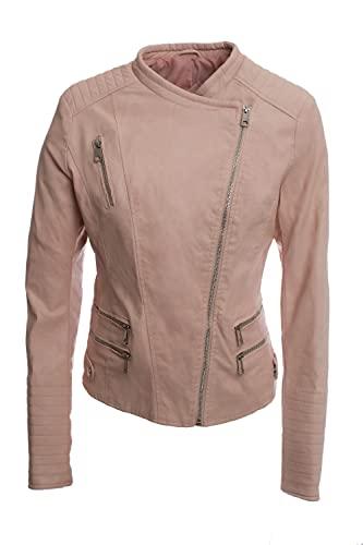 Jophy & Co - Chaqueta Biker Corta - Chaqueta de mujer - Confeccionada en piel ecológica con bolsillos frontales y laterales - Mod. n. 33108 Rosa M